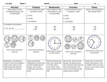 3rd Grade Math Spiral Review Weeks 1-9