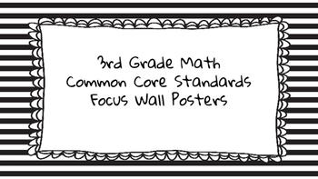 3rd Grade Math Standards on Black Striped Frame