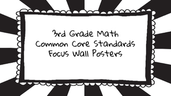 3rd Grade Math Standards on Black Sunburst Frame