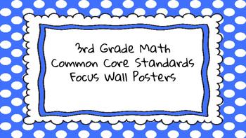 3rd Grade Math Standards on Blue Polka Dotted Frame