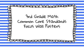 3rd Grade Math Standards on Blue Striped Frame