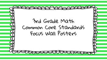 3rd Grade Math Standards on Green Striped Frame