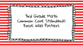 3rd Grade Math Standards on Red Striped Frame