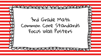 3rd Grade Math Standards on Red Striped Frame