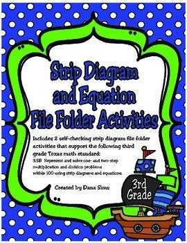 3rd Grade Math: Strip Diagram and Equation File Folder Activities