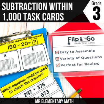 Subtraction within 1000 - 3rd Grade Math Flip and Go Cards