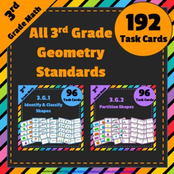 3rd Grade Math Task Cards Bundle for ALL Geometry Standard