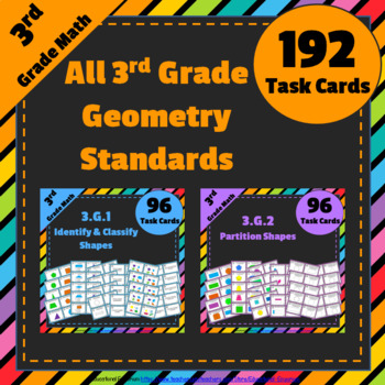 3rd Grade Geometry Task Cards 3.G: ALL Geometry Standards