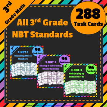 3rd Grade Math Task Cards Bundle for ALL Numbers and Opera