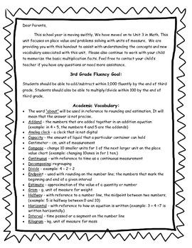 3rd Grade Math Unit 2 Parent Letter