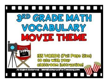 3rd Grade Math Vocabulary Word Wall Movie Theme