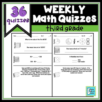 3rd Grade Math Weekly Quiz Bundle