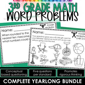 3rd Grade Math Rigorous Word Problems FOR ALL YEAR *MATH R