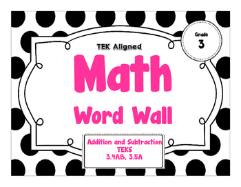 3rd Grade Math Word Wall - Addition and Subtraction TEKS 3