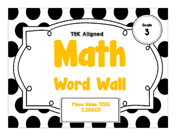 3rd Grade Math Word Wall - Place Value TEKS 3.2ABCD