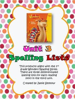 3rd Grade McGraw-Hill Wonders Unit 3 Spelling Lists
