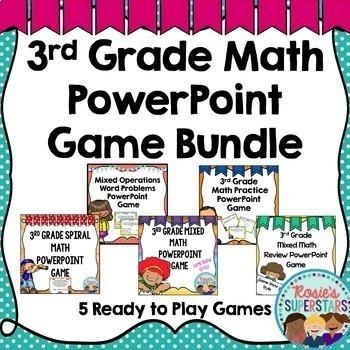 3rd Grade Mixed Math PowerPoint Game Bundle