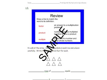 3rd Grade Multiplication Quiz Q1 (x1, 2 ,5, 10) and Review
