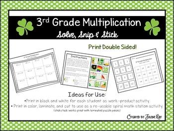 3rd Grade Multiplication: Solve, Snip & Stick; St. Patty's