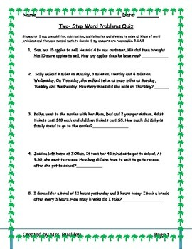 3rd Grade Multistep Word Problems