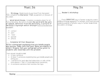 3rd Grade Must Do/May Do Plan + Character Trait Assignment