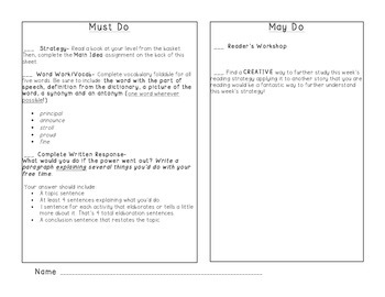 3rd Grade Must Do/May Do Plan + Main Idea GREAT FOR SUBS!
