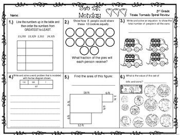 3rd Grade NEW TEKS Texas Tornado Spiral Review  Pt 5 (Sets