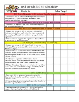 3rd Grade NGSS Checklist
