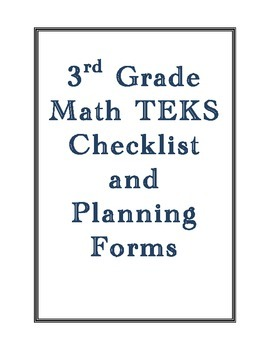 3rd Grade New Math TEKS Checklist and Planning Forms