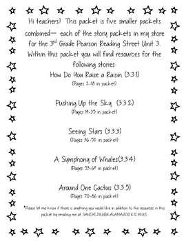 3rd Grade Pearson Reading Street Unit 3 Packet