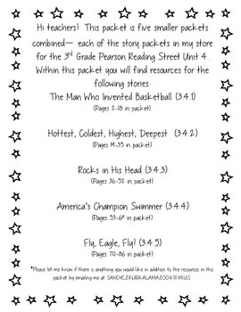 3rd Grade Pearson Reading Street Unit 4 Packet