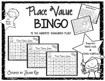 3rd Grade Place Value Bingo (to hundred thousands): TEKS 3