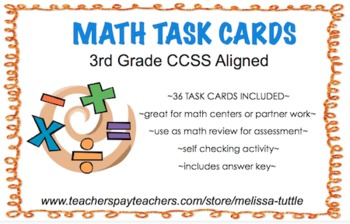 3rd Grade Printable Math Task Cards CCSS Aligned ~ 36 card