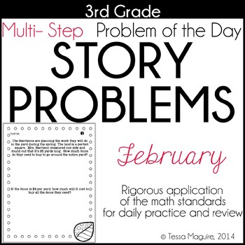 3rd Grade Problem of the Day Story Problems- February
