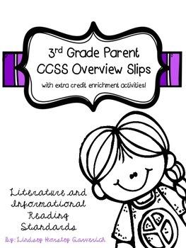 3rd Grade Reading CCSS Parent Slips