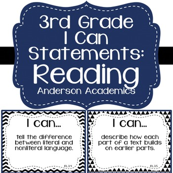 "3rd Grade ""I Can"" Statements: Reading - Black & White"