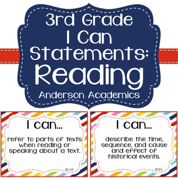 """3rd Grade """"I Can"""" Statements: Reading - Rainbow"""