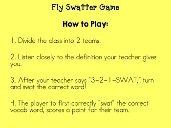 3rd Grade Reading Street Fly Swatter Game Unit 6