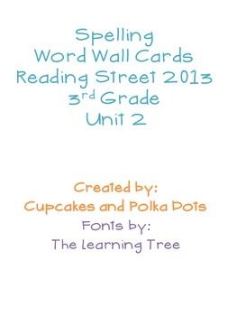 3rd Grade Reading Street Unit 2 Spelling Word Wall Cards