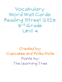 3rd Grade Reading Street Unit 4 Vocabulary Word Wall Cards