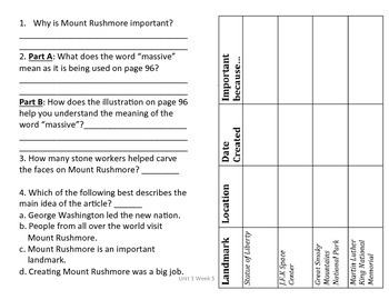 3rd Grade Reading Wonders Comprehension Worksheet A Mounta