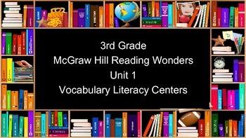 3rd Grade Reading Wonders Unit 1 Vocabulary Task Cards BUNDLE
