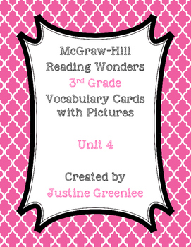 3rd Grade Reading Wonders Vocabulary Cards with Pictures Unit 4