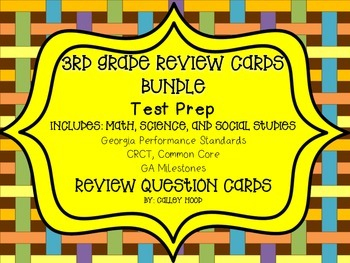 3rd Grade Review Question Card Bundle CC, GPS, GA Mileston