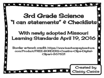 "3rd Grade Science Missouri Learning Standards ""I can"" Stat"