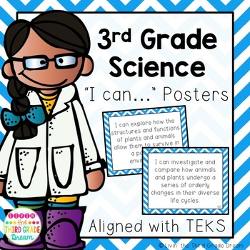 3rd Grade Science TEKS I Can... Statements (Blue Chevron)