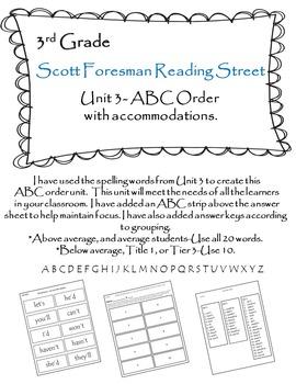 Scott Foresman Reading Street 3rd Grade U-3 ABC Order with