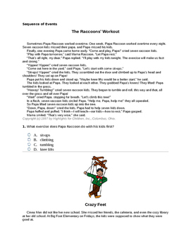 3rd Grade Sequence of Events Common Core Question Set