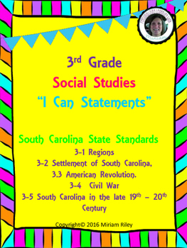 "3rd Grade Social Studies ""I CAN"" Statements"