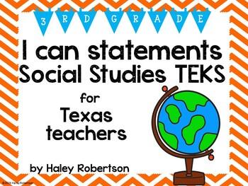 "3rd Grade Social Studies ""I can"" statements- Chevron patte"